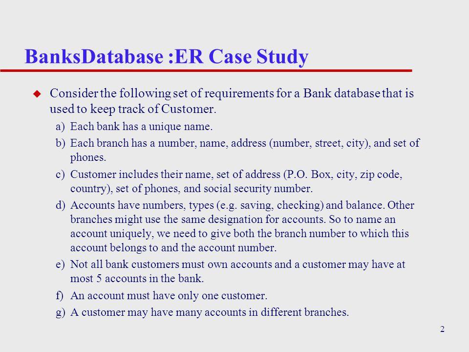 BanksDatabase :ER Case Study