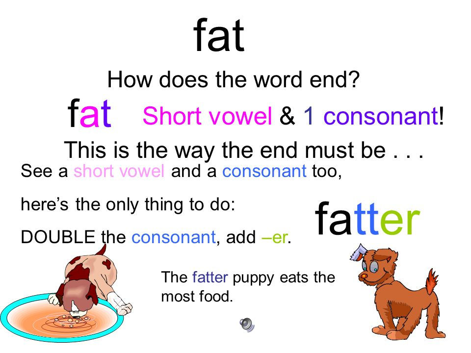 fat fatter fat Short vowel & 1 consonant! How does the word end