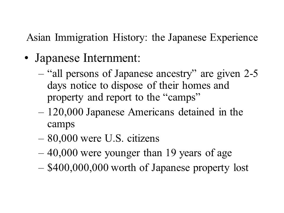 Asian Immigration History: the Japanese Experience