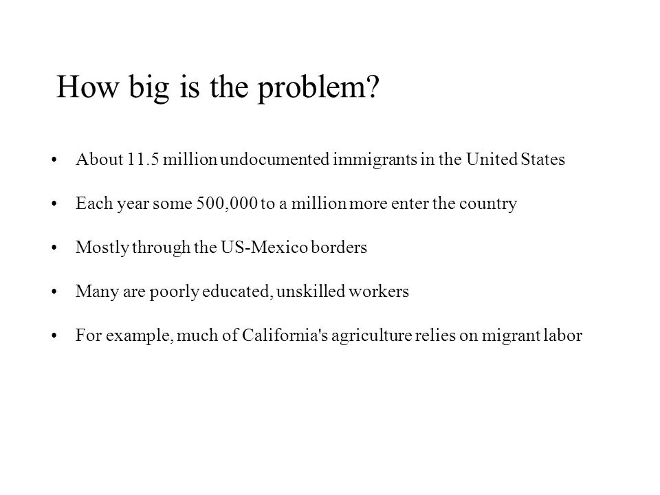 How big is the problem About 11.5 million undocumented immigrants in the United States. Each year some 500,000 to a million more enter the country.
