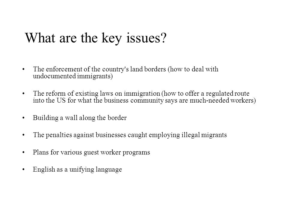 What are the key issues The enforcement of the country s land borders (how to deal with undocumented immigrants)
