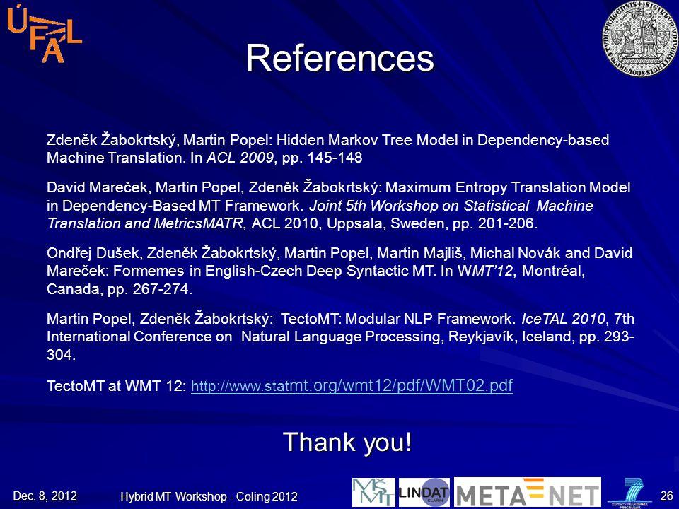 Hybrid MT Workshop - Coling 2012