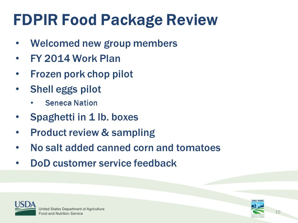 FDPIR Food Package Review