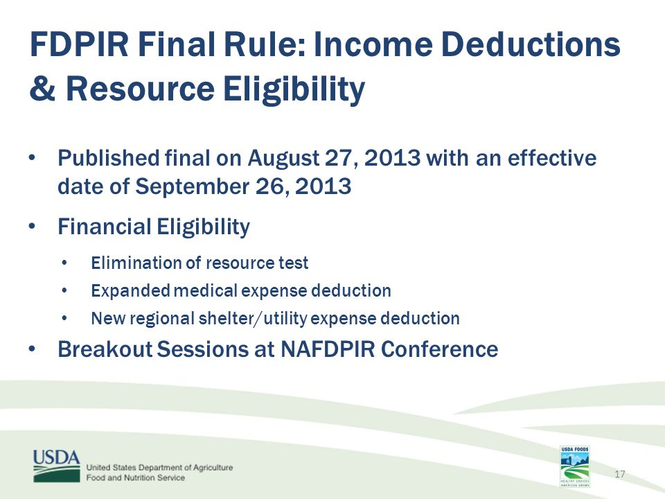 FDPIR Final Rule: Income Deductions & Resource Eligibility