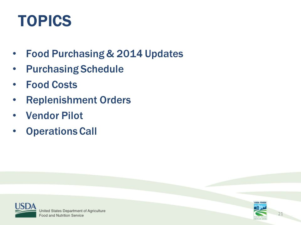 TOPICS Food Purchasing & 2014 Updates Purchasing Schedule Food Costs