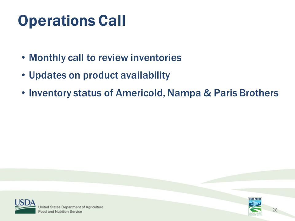 Operations Call Monthly call to review inventories