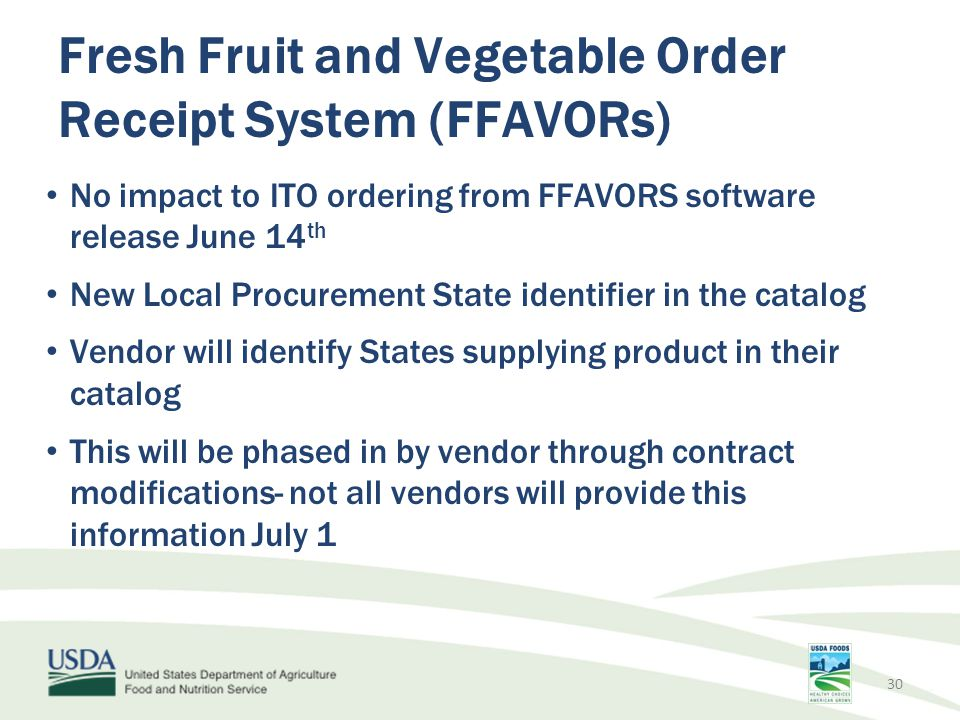 Fresh Fruit and Vegetable Order Receipt System (FFAVORs)