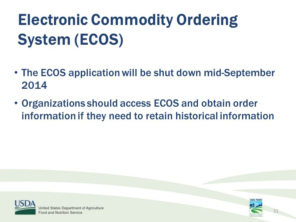 Electronic Commodity Ordering System (ECOS)