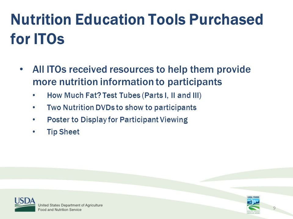 Nutrition Education Tools Purchased for ITOs