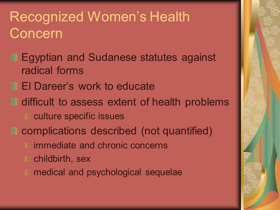 Recognized Women's Health Concern