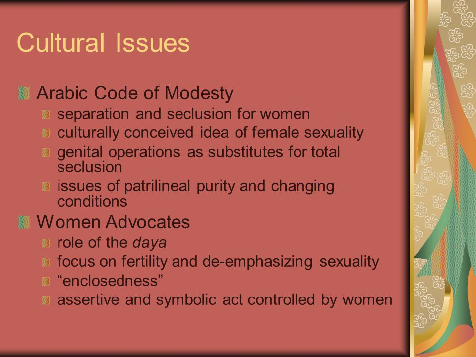 Cultural Issues Arabic Code of Modesty Women Advocates