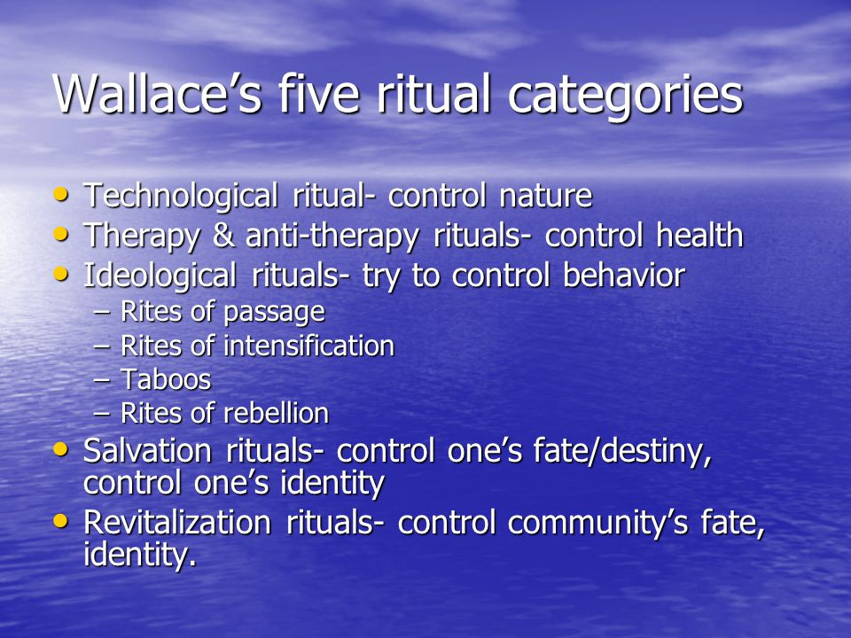Wallace's five ritual categories