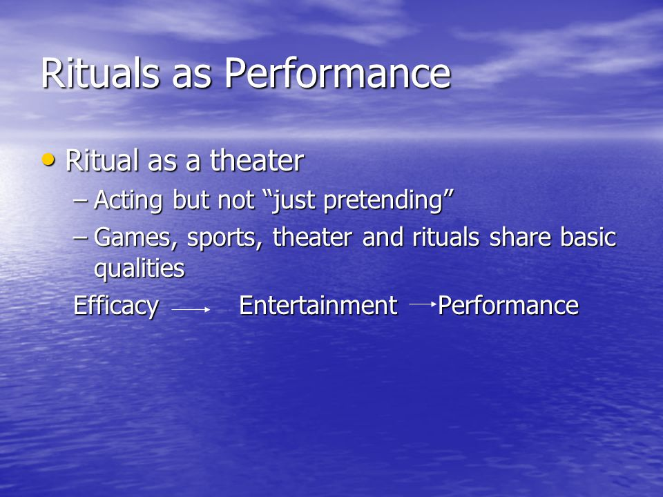 Rituals as Performance