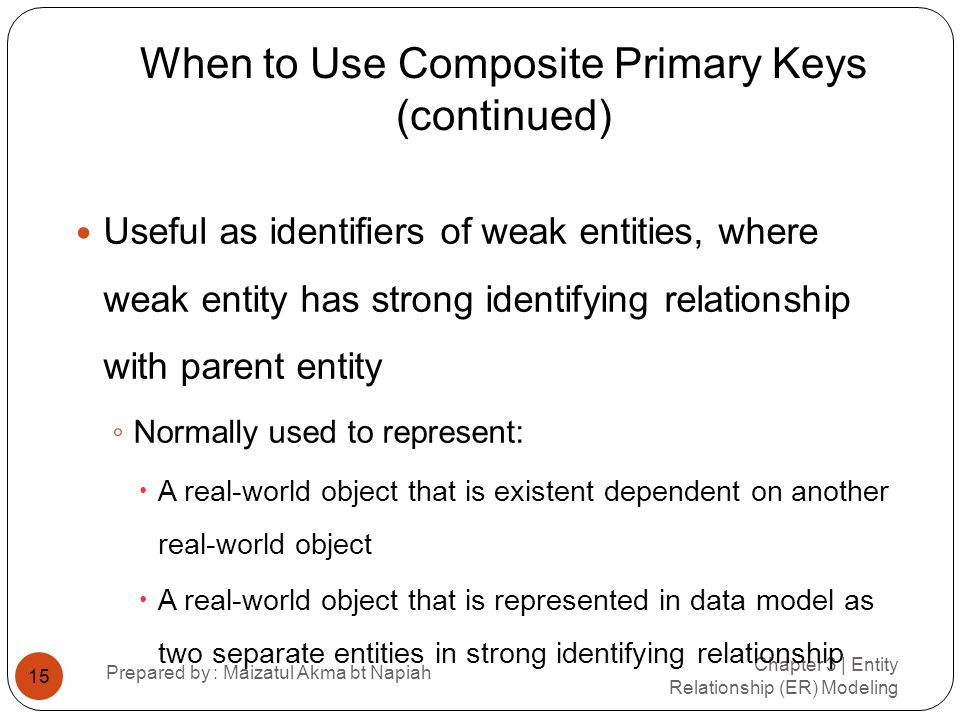 When to Use Composite Primary Keys (continued)