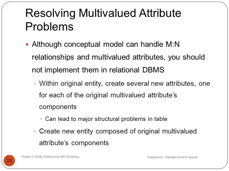Resolving Multivalued Attribute Problems