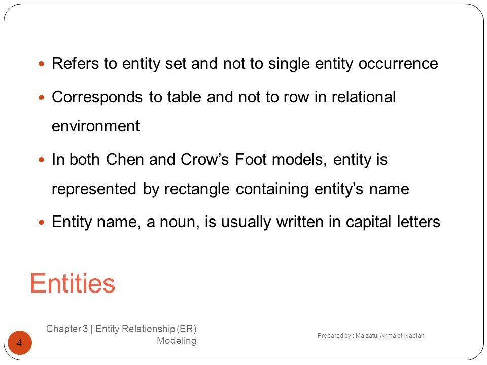 Entities Refers to entity set and not to single entity occurrence