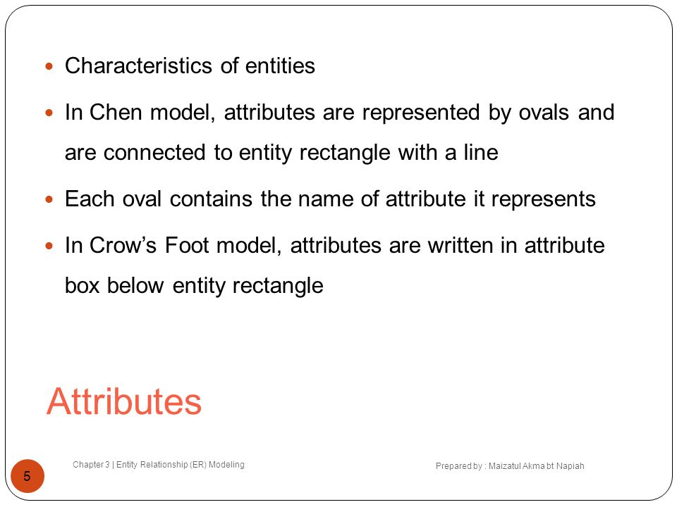 Attributes Characteristics of entities