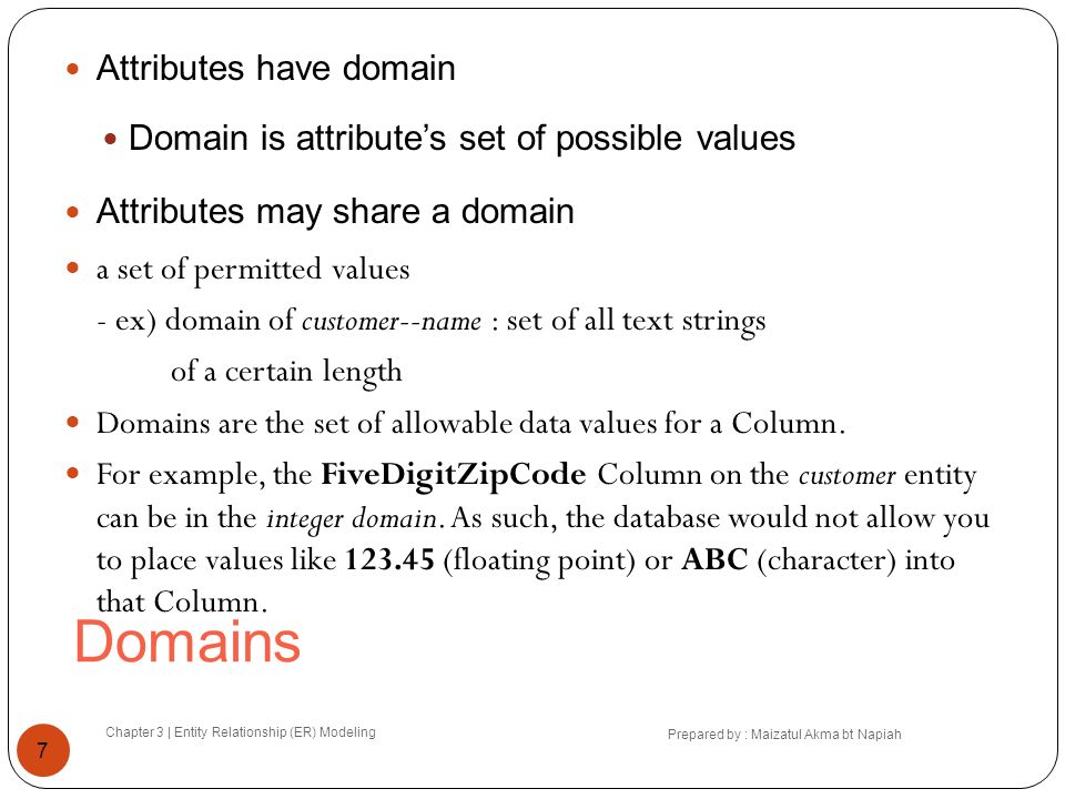 Domains Attributes have domain