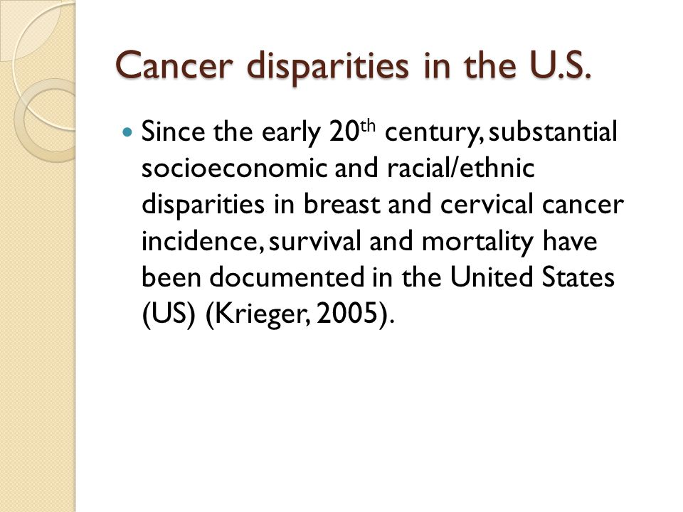 Cancer disparities in the U.S.