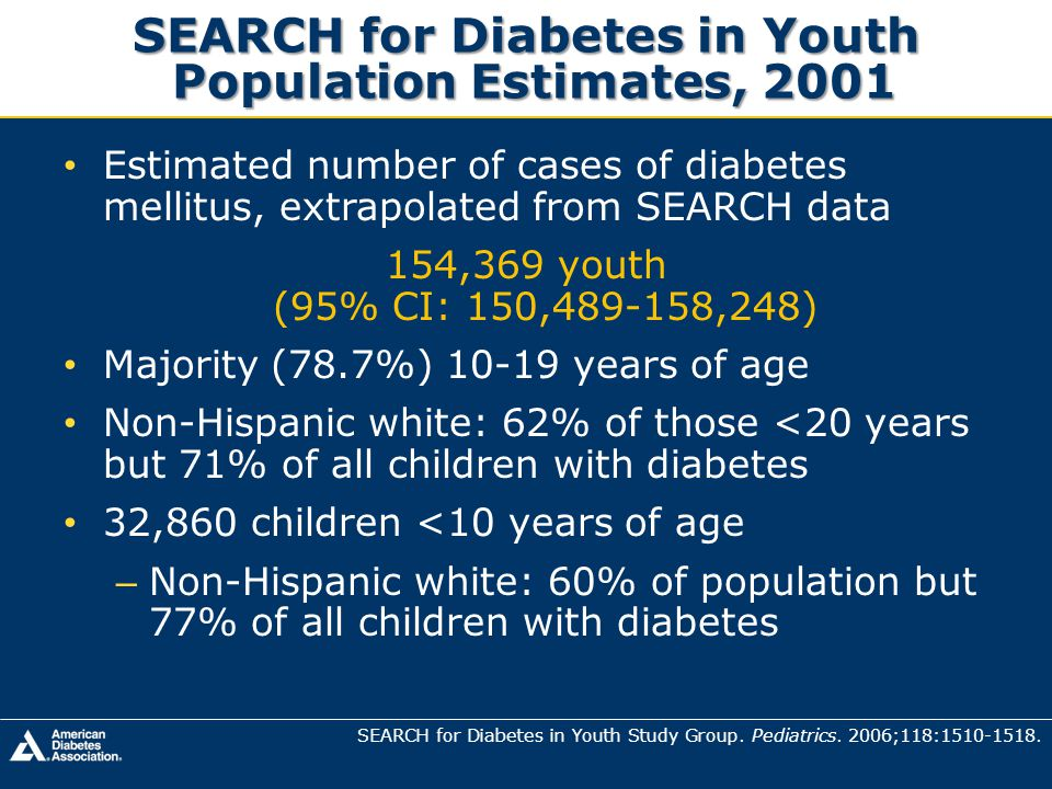 SEARCH for Diabetes in Youth Population Estimates, 2001