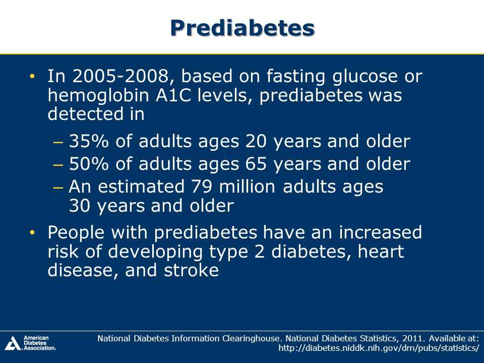 Prediabetes In 2005-2008, based on fasting glucose or hemoglobin A1C levels, prediabetes was detected in.