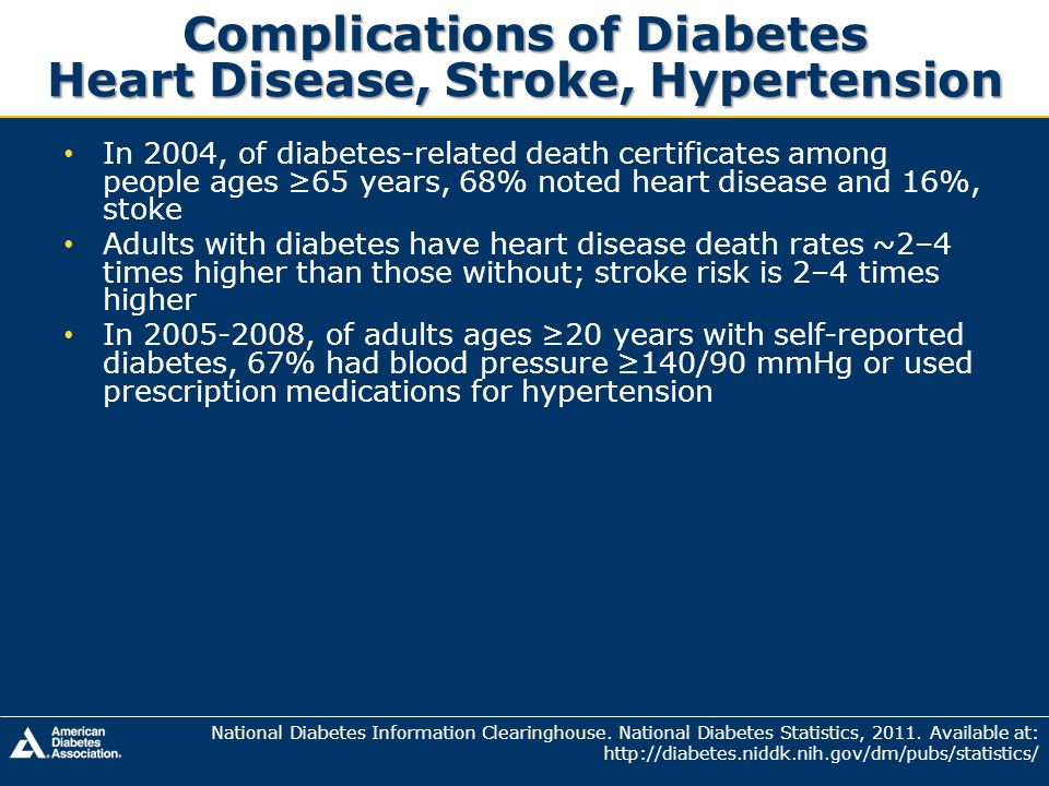 Complications of Diabetes Heart Disease, Stroke, Hypertension