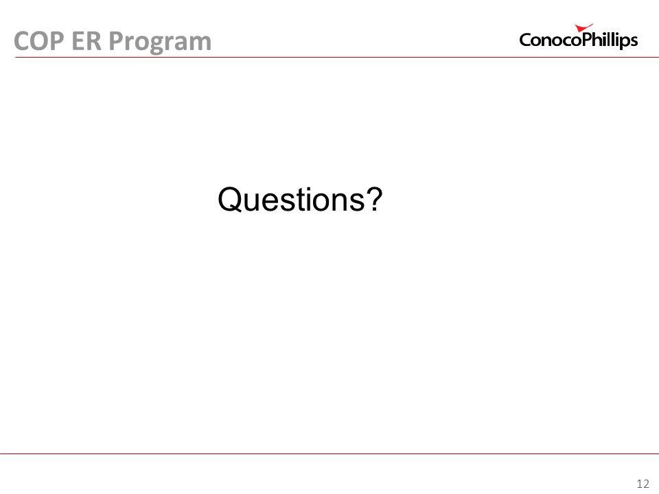 COP ER Program Questions