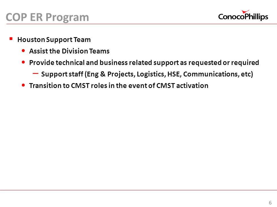 COP ER Program Houston Support Team Assist the Division Teams