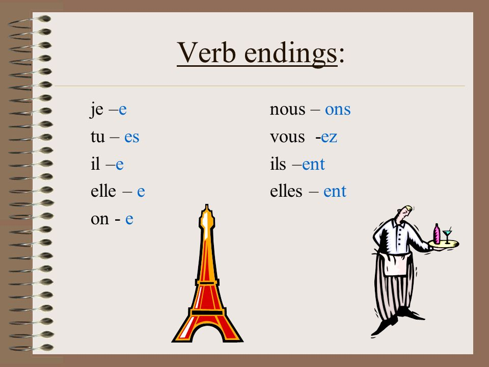 Verb endings: je –e tu – es il –e elle – e on - e nous – ons vous -ez