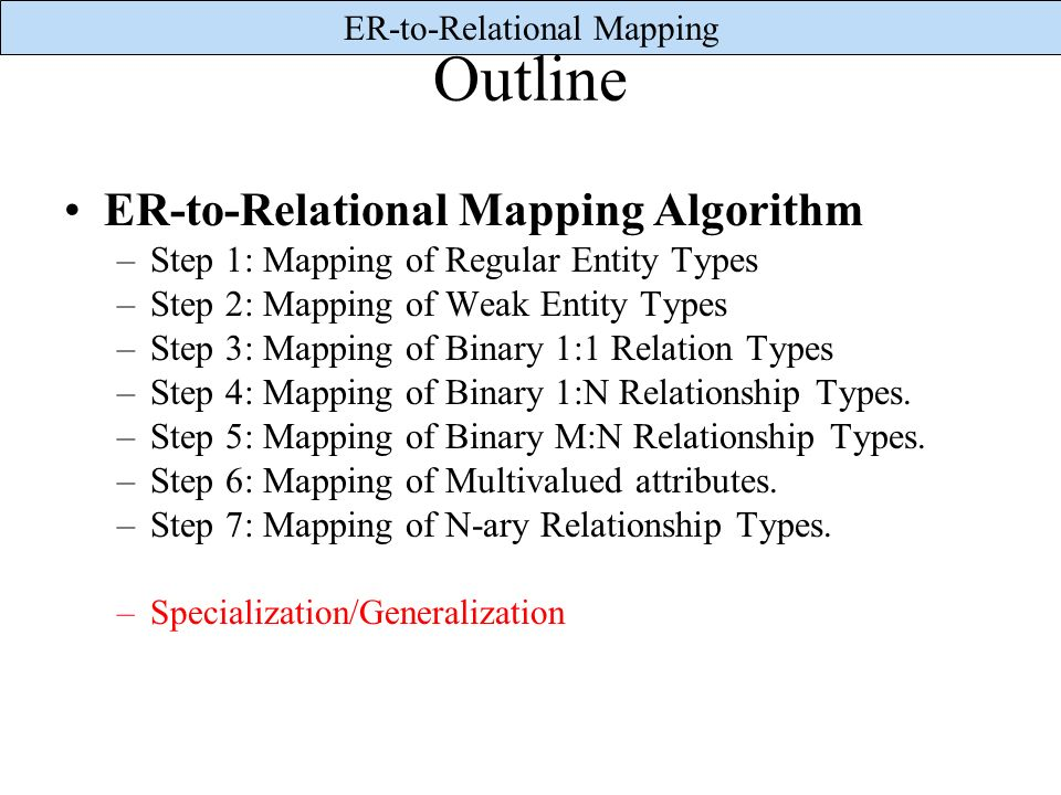 Outline ER-to-Relational Mapping Algorithm