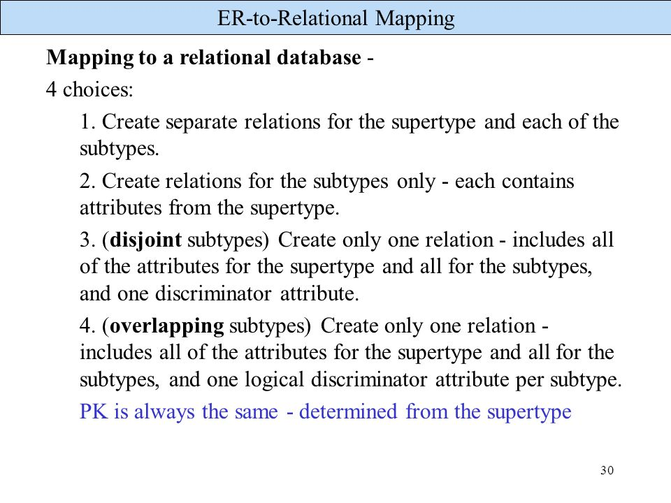 Mapping to a relational database -