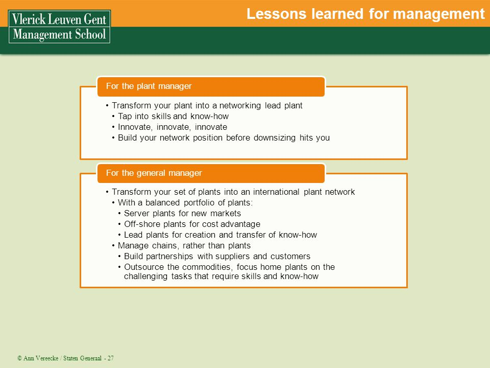 Lessons learned for management