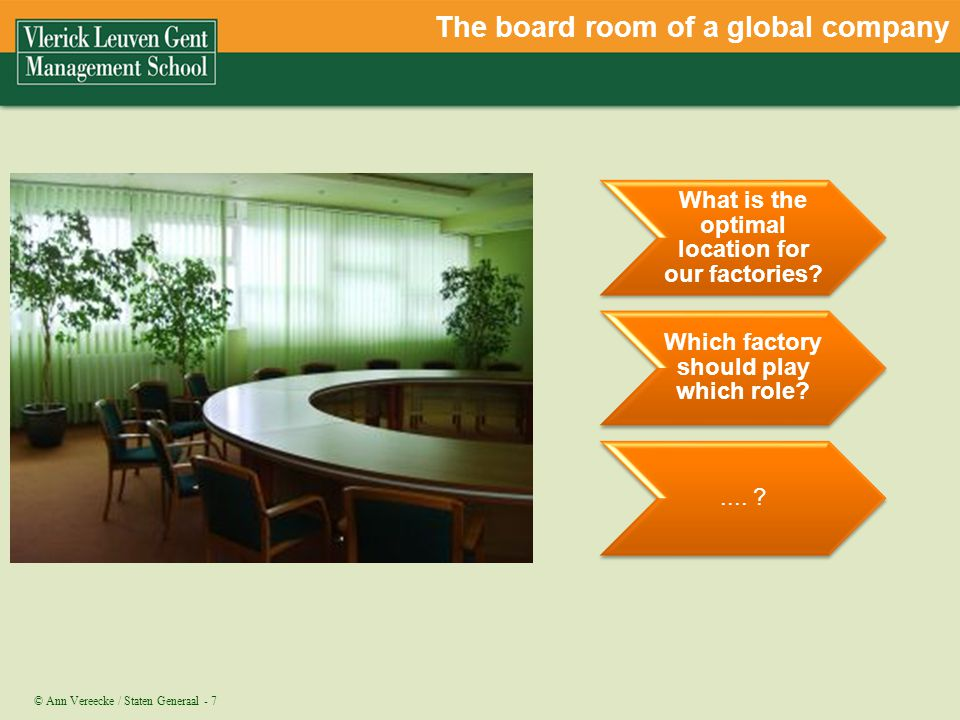 The board room of a global company