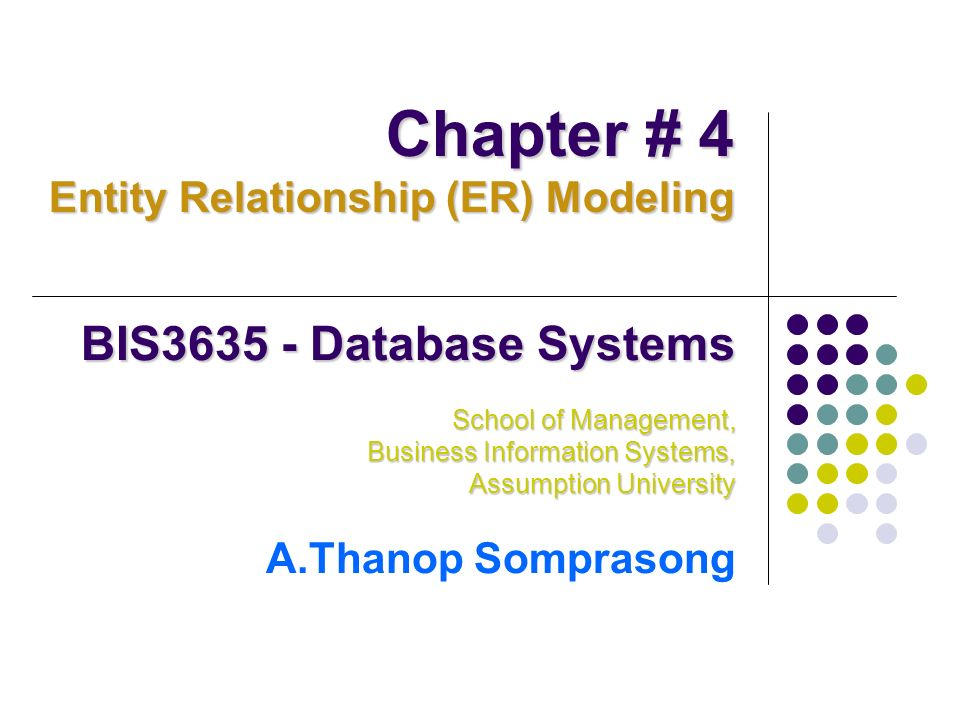 Chapter # 4 BIS3635 - Database Systems