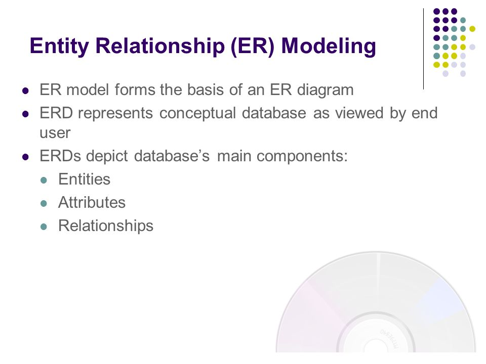 what are the components of entity relationship data model