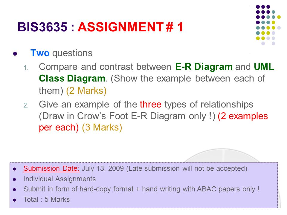 BIS3635 : ASSIGNMENT # 1 Two questions