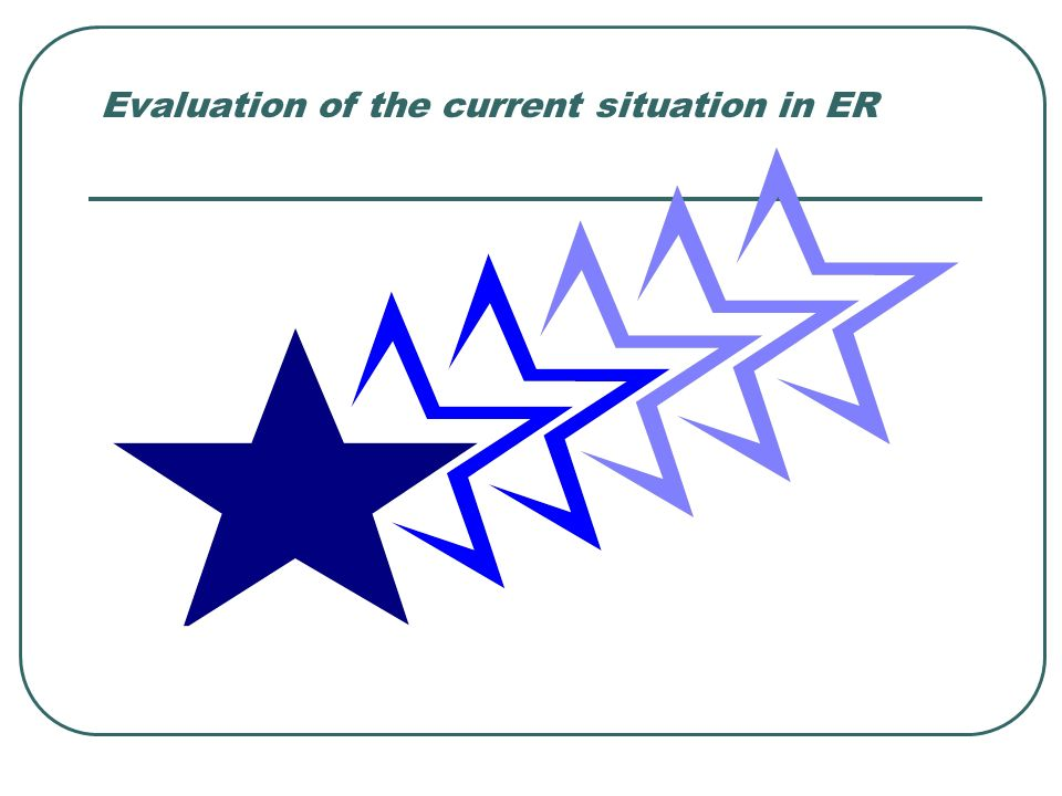 Evaluation of the current situation in ER