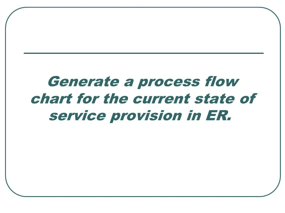 Generate a process flow chart for the current state of service provision in ER.