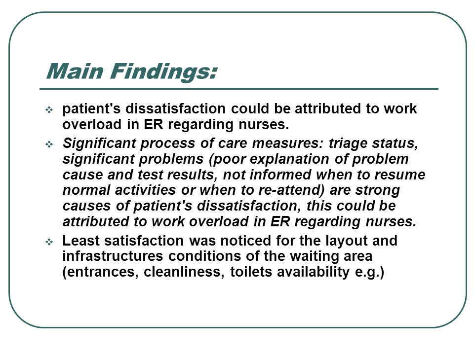 Main Findings:patient s dissatisfaction could be attributed to work overload in ER regarding nurses.