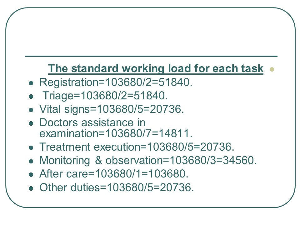 The standard working load for each task