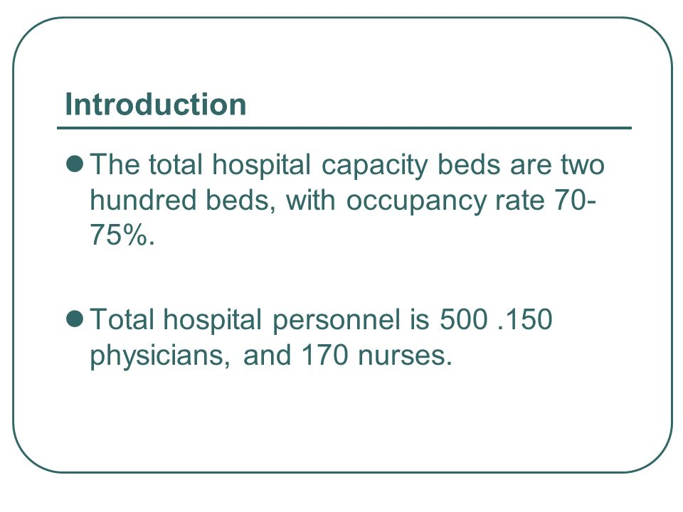 IntroductionThe total hospital capacity beds are two hundred beds, with occupancy rate 70-75%.