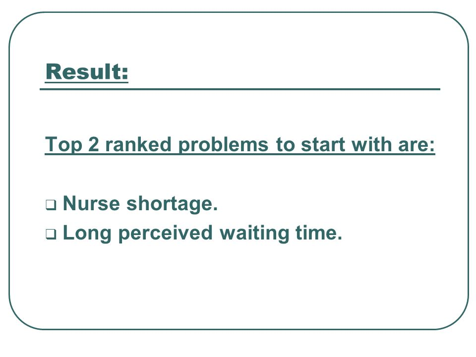 Result: Top 2 ranked problems to start with are: Nurse shortage.