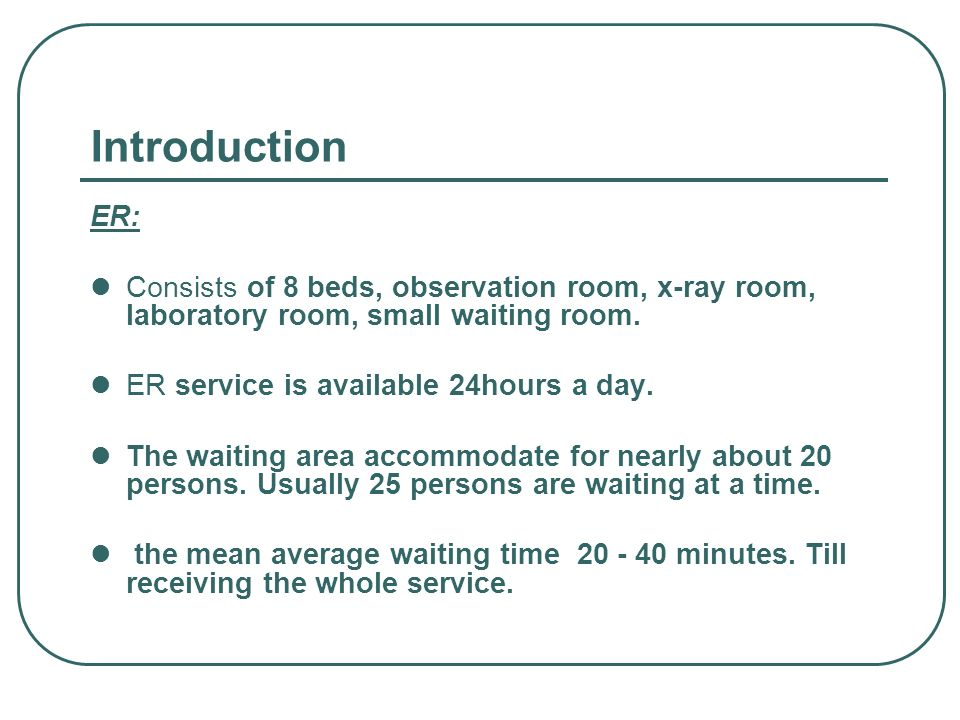 IntroductionER: Consists of 8 beds, observation room, x-ray room, laboratory room, small waiting room.