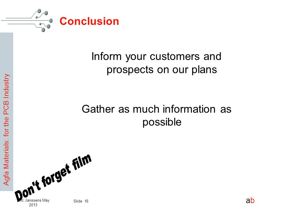 Inform your customers and prospects on our plans
