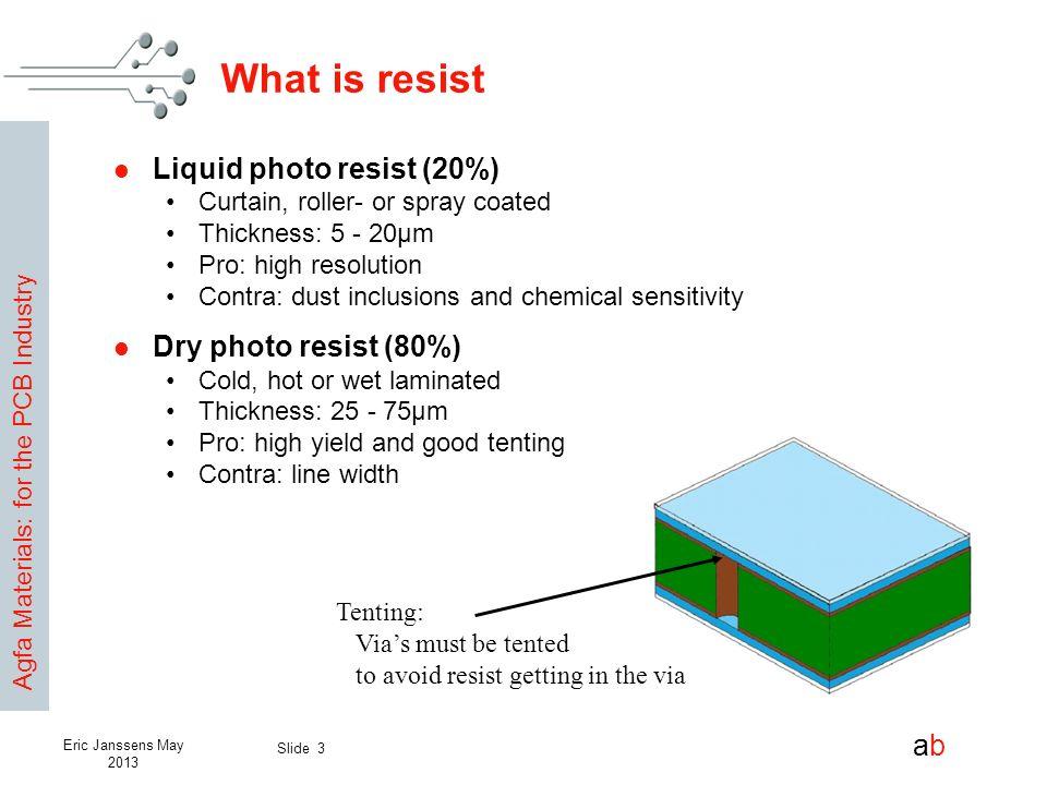 What is resist Liquid photo resist (20%) Dry photo resist (80%)