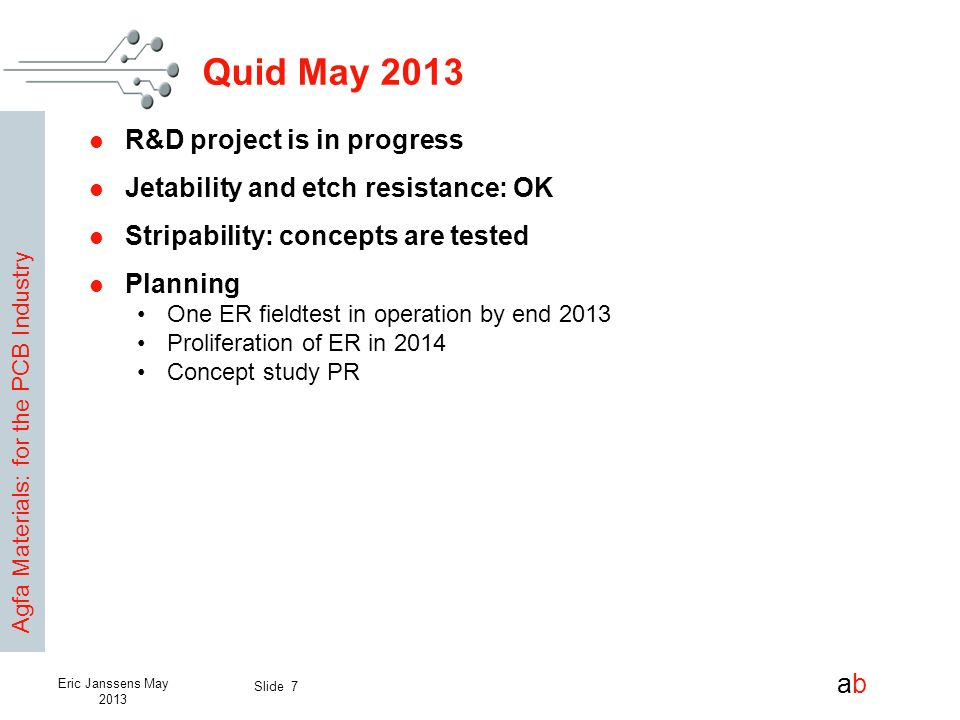 Quid May 2013 R&D project is in progress