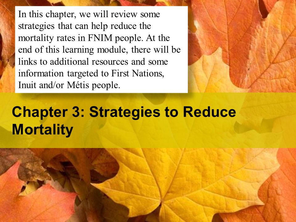 Chapter 3: Strategies to Reduce Mortality