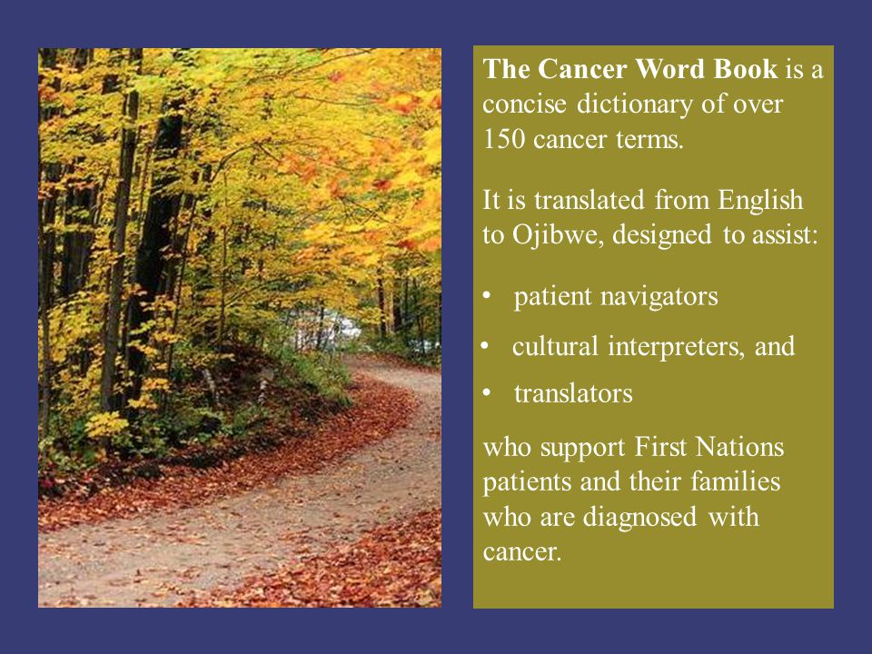 The Cancer Word Book is a concise dictionary of over 150 cancer terms.