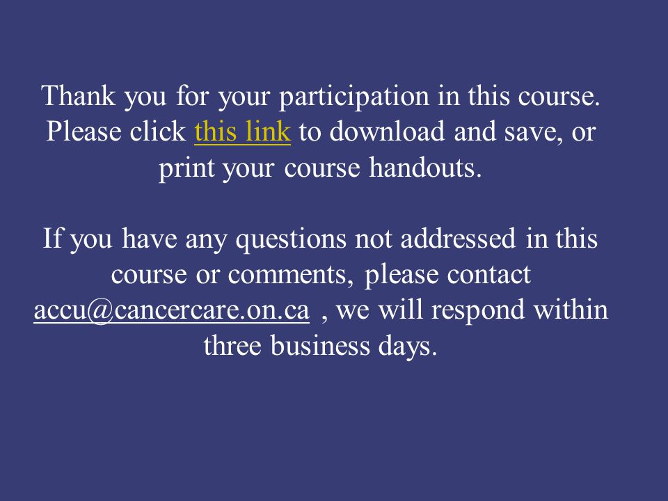 Thank you for your participation in this course