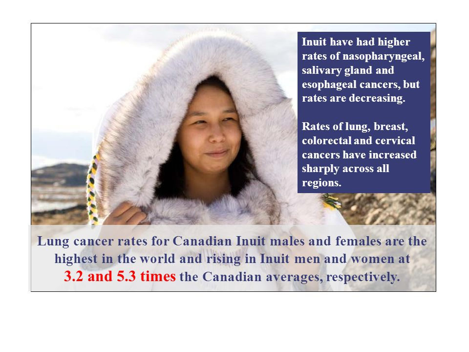Inuit have had higher rates of nasopharyngeal, salivary gland and esophageal cancers, but rates are decreasing.